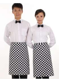 餐厅厨师围裙挂脖黑色长袖酒店工作服定做中西式厨师服