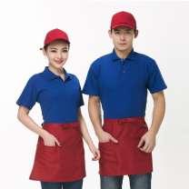 餐饮火锅店短款半身围裙 奶茶店餐厅服务员工作服纯色围裙